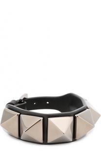 Браслет из телячьей кожи с металлическими заклёпками Valentino