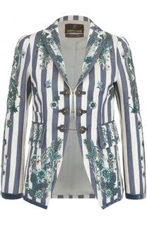 Жакет в полоску с контрастной вышивкой Roberto Cavalli