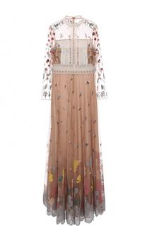 Платье в пол с кружевной отделкой и вышивкой Valentino