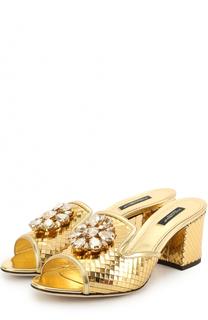 Сабо из металлизированной кожи с брошью Dolce & Gabbana