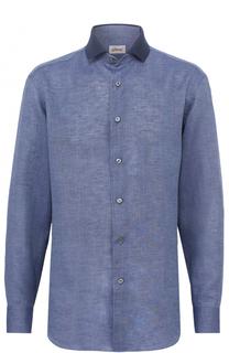 Льняная рубашка с воротником кент Brioni