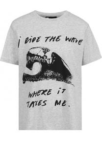 Хлопковая футболка с контрастной надписью 5PREVIEW