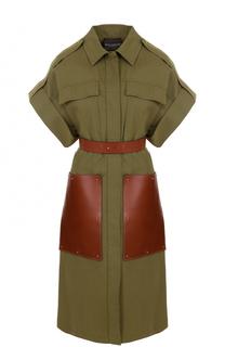 Платье-рубашка с кожаными карманами и поясом Erika Cavallini