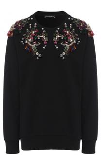 Пуловер с круглым вырезом и декоративной отделкой Dolce & Gabbana