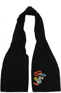 Шерстяной шарф с нашивками Dsquared2