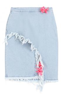 Джинсовая юбка с разрезом и потертостями Steve J & Yoni P