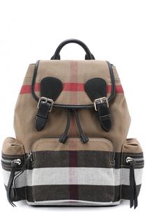 Рюкзак из клетчатого текстиля с кожаной отделкой Burberry