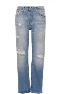 Укороченные джинсы прямого кроя с потертостями R13
