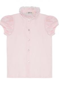 Хлопковая блуза с кружевным воротником-стойкой Caf