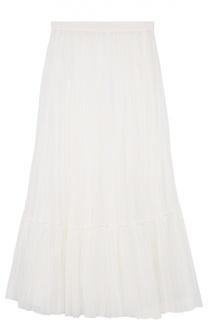Плиссированная юбка-макси с оборкой Valentino