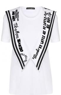 Удлиненная футболка с декорированным воротником матроской Dolce & Gabbana