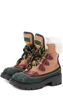Высокие кожаные ботинки с внутренней меховой отделкой Dsquared2