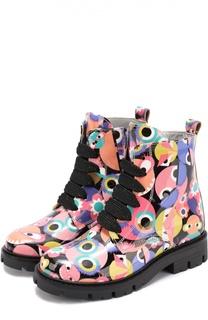 Лаковые ботинки с принтом Fendi Roma