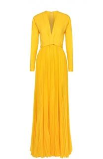 Шелковое платье-макси с плиссированной юбкой и высоким разрезом Dsquared2