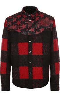 Шерстяная куртка с отделкой из натуральной кожи с принтом Camustars Valentino