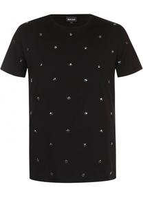 Хлопковая футболка с декоративной отделкой Just Cavalli