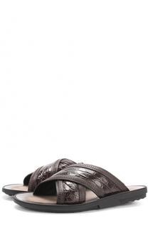 Кожаные шлепанцы с отделкой из кожи крокодила Tod's Tods