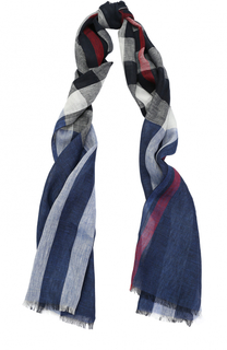 Льняной шарф в клетку с необработанным краем Burberry