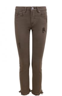 Укороченные джинсы с бахромой и потертостями Two Women In The World