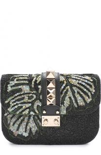 Сумка Glam Lock small с вышивкой бисером и пайетками Valentino