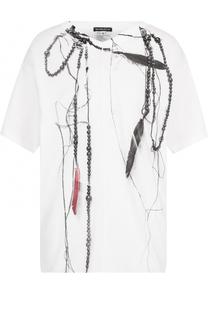 Хлопковая футболка с открытой спиной и принтом Ann Demeulemeester