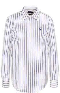 Хлопковая блуза в полоску с логотипом бренда Polo Ralph Lauren