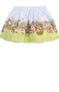 Хлопковая юбка с принтом и эластичным поясом Monnalisa