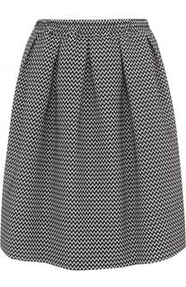 Мини-юбка с принтом и защипами Armani Collezioni