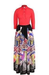 Платье-рубашка в пол с принтованной юбкой sara roka