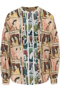 Шелковая блуза с круглым вырезом и принтом Burberry