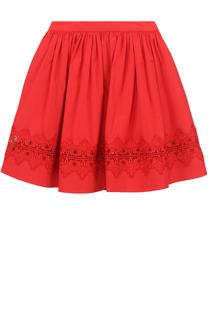 Хлопковая мини-юбка с кружевной отделкой Alice + Olivia