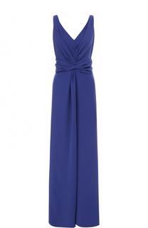 Платье-макси с драпировкой и V-образным вырезом Armani Collezioni