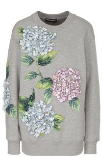Свитшот свободного кроя с цветочной отделкой Dolce & Gabbana