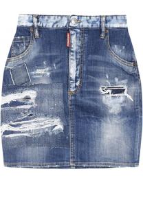 Джинсовая мини-юбка с потертостями Dsquared2