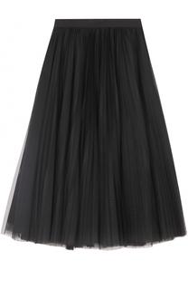 Многоярусная юбка-миди с широким поясом Escada