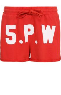 Хлопковые мини-шорты с контрастной надписью 5PREVIEW