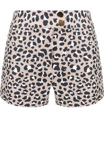 Льняные мини-шорты с леопардовым принтом MICHAEL Michael Kors