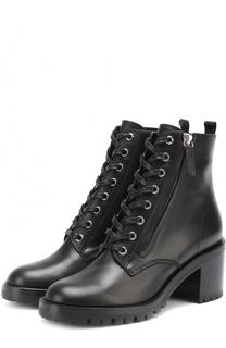 Кожаные ботинки Croft на шнуровке и с молнией Gianvito Rossi
