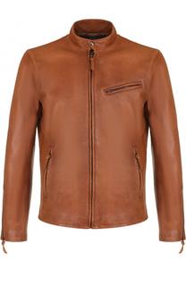 Кожаная куртка на молнии с воротником-стойкой Polo Ralph Lauren