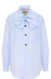 Хлопковая блуза с воротником аскот Burberry