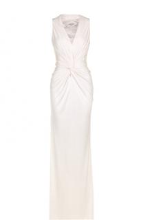 Платье-макси с высоким разрезом и драпировкой Lanvin