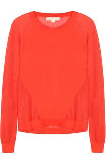 Пуловер с круглым вырезом и перфорированными вставками MICHAEL Michael Kors