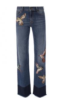 Расклешенные джинсы с потертостями и нашивками REDVALENTINO