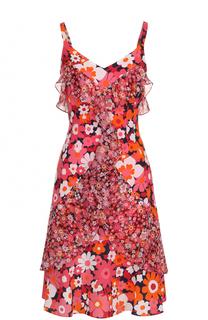 Шелковое мини-платье с цветочным принтом и оборками Michael Kors