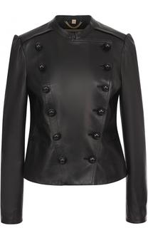Приталенная кожаная куртка с рукавом-фонарик Burberry
