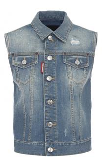 Укороченный джинсовый жилет прямого кроя Dsquared2