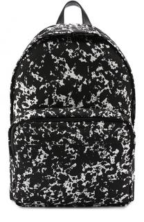 Текстильный рюкзак с принтом и отделкой из натуральной кожи Bally