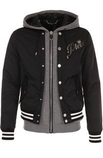 Хлопковая куртка на молнии с декоративной отделкой Philipp Plein