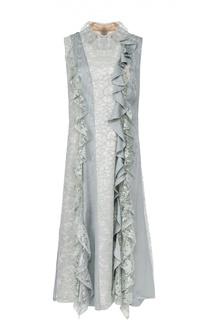 Кружевное платье без рукавов с оборками Lanvin