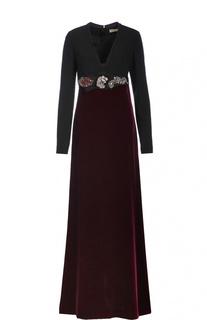 Платье в пол с бархатной юбкой и декоративной отделкой Lanvin